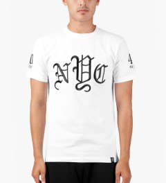 40oz NYC White OLDE New York T-Shirt Model Picture