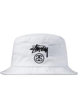 Stussy White Stock Lock SU15 Bucket Hat Picture