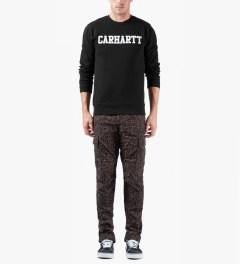 Carhartt WORK IN PROGRESS Black/White College Crewneck Sweater Model Picutre