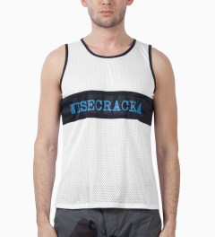 Mark McNairy White/Black Wisecracka Mesh Tank Model Picutre