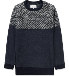 Still Good Navy/White Two Tone Jazz Wool Sweater Picture