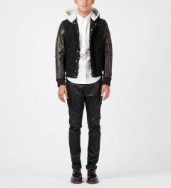 Band of Outsiders Black Leather Varsity Jacket Model Picture
