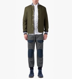 Mark McNairy Army Green Shirt Tail Varsity Jacket Model Picture