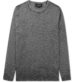 LAPSE Black Slub Stripe Bastille Knit Sweater Picutre
