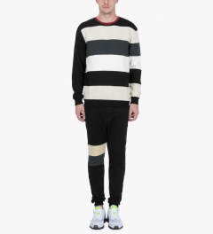 i love ugly. Black Leg Emb Crewneck Jersey Sweater Model Picture
