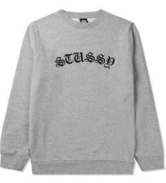 Stussy Heather Grey Gothic EMB. Sweater Picutre