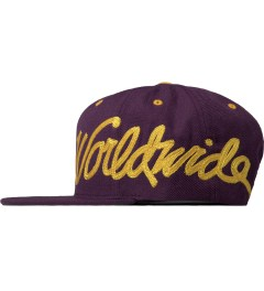 Stussy Purple Worldwide Snapback Cap Model Picture