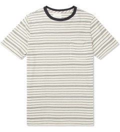 SATURDAYS Surf NYC Ecru Randall Pencil Stripe T-Shirt Picture