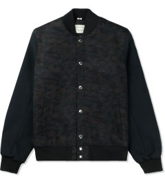 Maison Kitsune Navy Brown Camo Teddy Jacket Picture