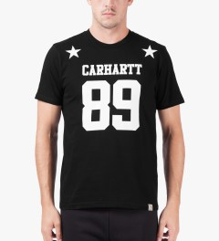 Carhartt WORK IN PROGRESS Black/White S/S Fan T-Shirt Model Picutre