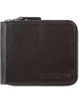 Carhartt WORK IN PROGRESS Dark Brown Cow Leather Zip Wallet Picture