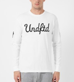 Undefeated White 5 Script L/S T-Shirt Model Picture