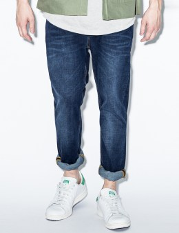Nudie Jeans Blue Grim Tim Crosshatch Worn In Denim Jeans Picture