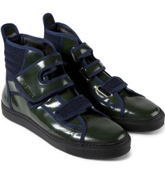 Raf Simons Dark Green High Velcro Sneakers Model Picutre