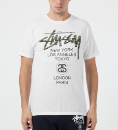 Stussy White World Tour Camo T-Shirt Model Picture