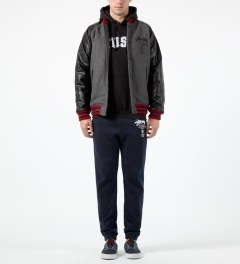 Stussy Charcoal World Tour Wool Jacket Model Picture