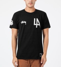 Stussy Black LA 80 T-Shirt Model Picture
