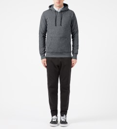 Reigning Champ Charcoal RC-3261 Heavyweight Terry L/S Pullover Hoodie W/ Side Zip Model Picture