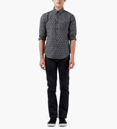 Naked & Famous Indigo Kimono Geometric Regular Shirt Model Picutre
