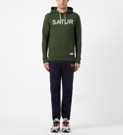 SATURDAYS Surf NYC Dark Fatigue Ditch Front and Back Hoodie Model Picture