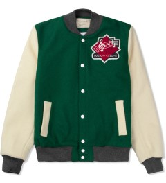 Maison Kitsune Green Ecru Music Teddy Jacket Picture