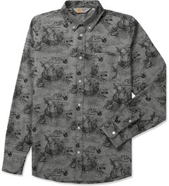Carhartt WORK IN PROGRESS Chambray Fleet Print/Black Rigid L/S Crandall Shirt Picutre