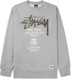 Stussy Heather Grey Camo App World Tour Crewneck Sweater Picture