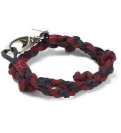Icon Brand Maroon/Navy Double Wrap Braided Soft Leather Bracelet Picutre