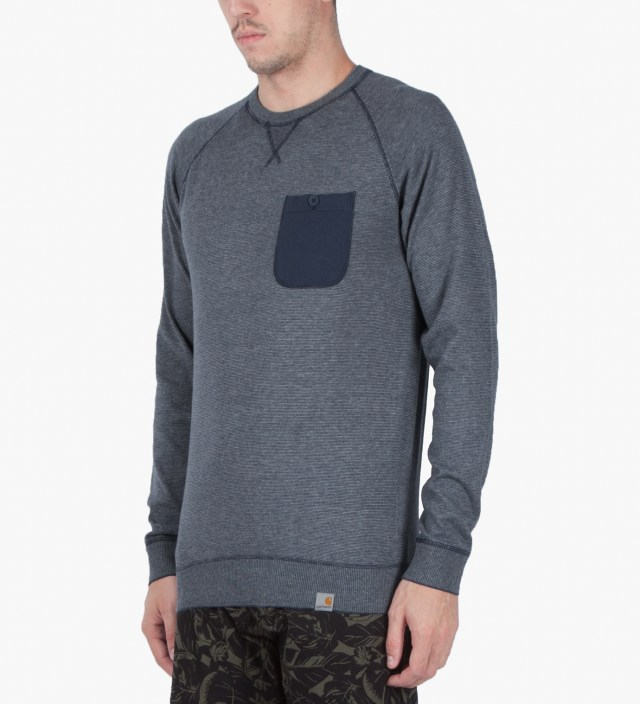Grey Heather/Blue Penny Murray Strip Sweater