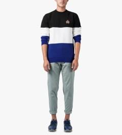 HUF Black/White/Blue Crested Block Crewneck Sweater Model Picutre