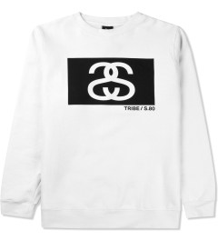 Stussy White S/S Tribe Box Crew Sweater Picutre
