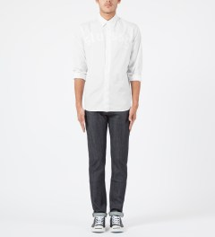 Stussy White Top Button L/S Shirt Model Picture