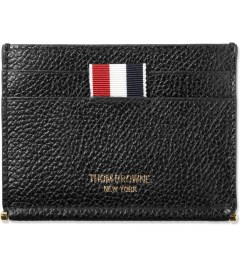 Thom Browne Black Grained Leather Card Holder Picutre