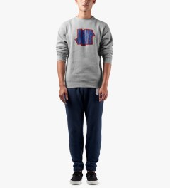 Undefeated Heather Grey Double 5 Strike Crew Sweater Model Picture
