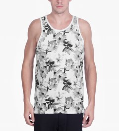 HUF White/Black Floral Tank Top Model Picture