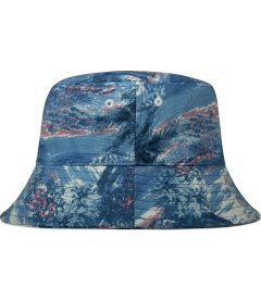 Grind London Blue Hawaiian Print Linen Bucket Hat Model Picutre