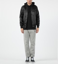 Stussy Black Satin Bomber Jacket Model Picture