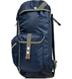Wood Wood Midnight Navy Mills Backpack Model Picture