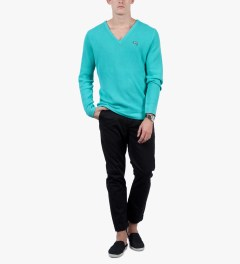 Stussy Turquoise Stock V-Neck Sweater Model Picutre