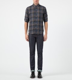 Naked & Famous Blue/Black Vintage Check Regular Shirt Model Picture