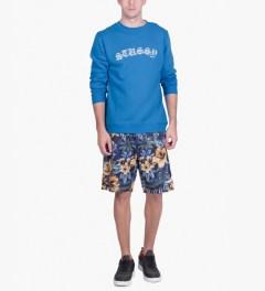 Stussy Brite Blue Gothic EMB. Sweater Model Picutre