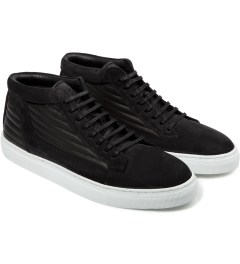 ETQ Black Ribbed Mid Top Sneakers Model Picutre