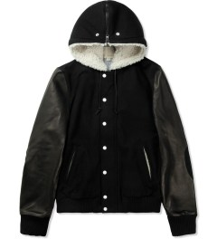 Band of Outsiders Black Leather Varsity Jacket Picture