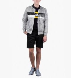Stussy Grey Satin Stripe Jacket Model Picutre
