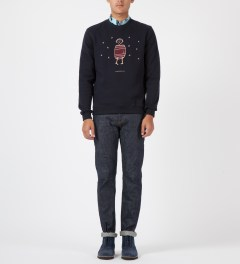 Carven Dark Navy Little Chap Crewneck Sweater Model Picture
