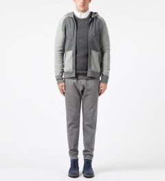Reigning Champ Grey RC-3268 Hybrid L/S Zip Front Hoodie Model Picture