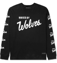 Raised by Wolves Black Varsity Logo L/S T-Shirt Picture