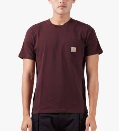 Carhartt WORK IN PROGRESS Bordeaux Heather S/S Pocket T-Shirt Model Picutre