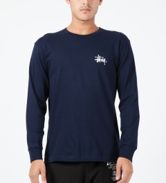 Stussy Navy Basic Logo L/S T-Shirt Model Picture