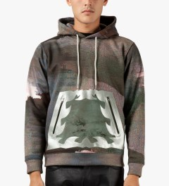 Uppercut Glitch Coated Pocket Printed Side Zip Up Hoodie Model Picture